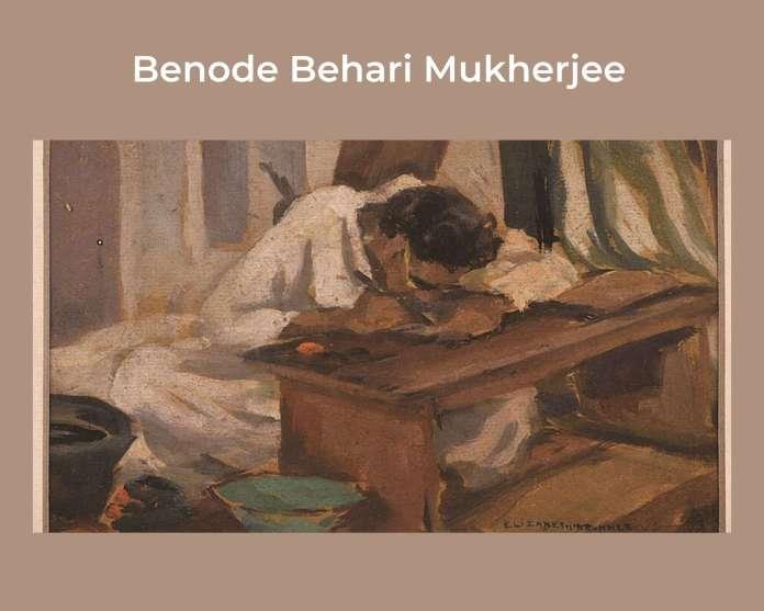 Elizabeth Brunner painting of Benode Behari Mukherjee at Shantiniketan