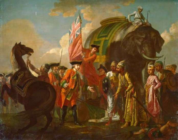Robert Clive and Mir Jafar after the Battle of Plassey painting by Francis Hayman