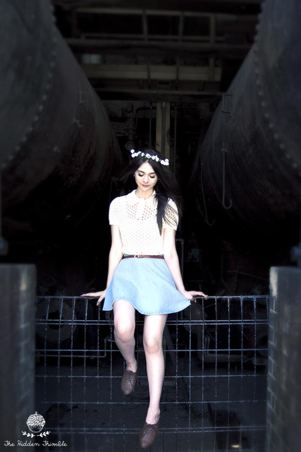 Top: American Apparel     Skirt:  American Apparel      Belt:  Korean Market     Floral Headpiece:  Lovisa