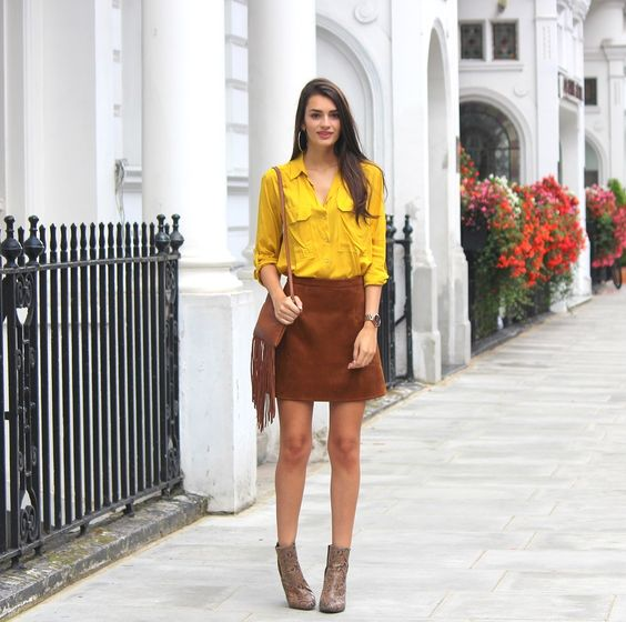 short skirt with ankle boots