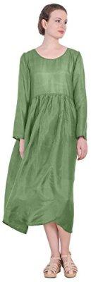Marycrafts Womens Silk Vintage Green 1970s Dress