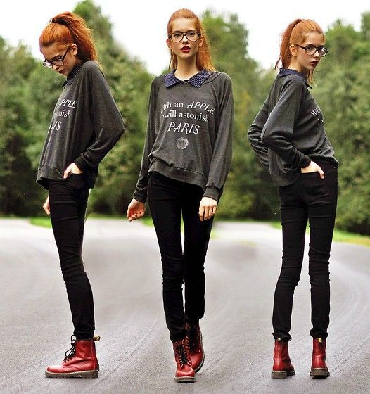 outfits with flats Doc Martens