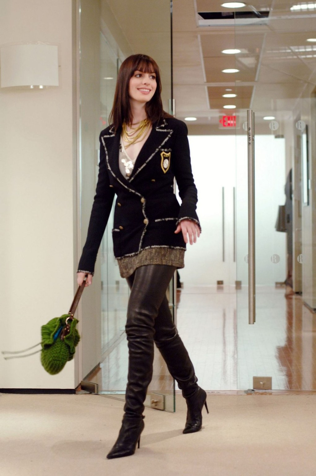 Outfits with Thigh High Boots Anne Hathaway