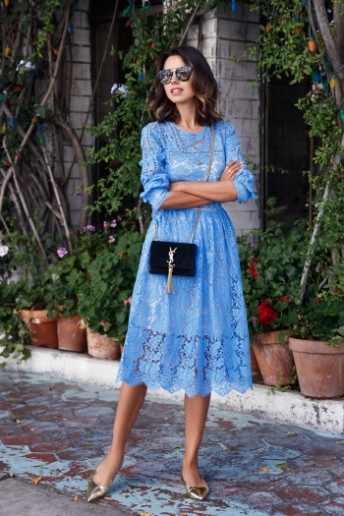 Robin Blue Lace Cut Out Dress Paired with Pointed Toed Gold Ballet Flats