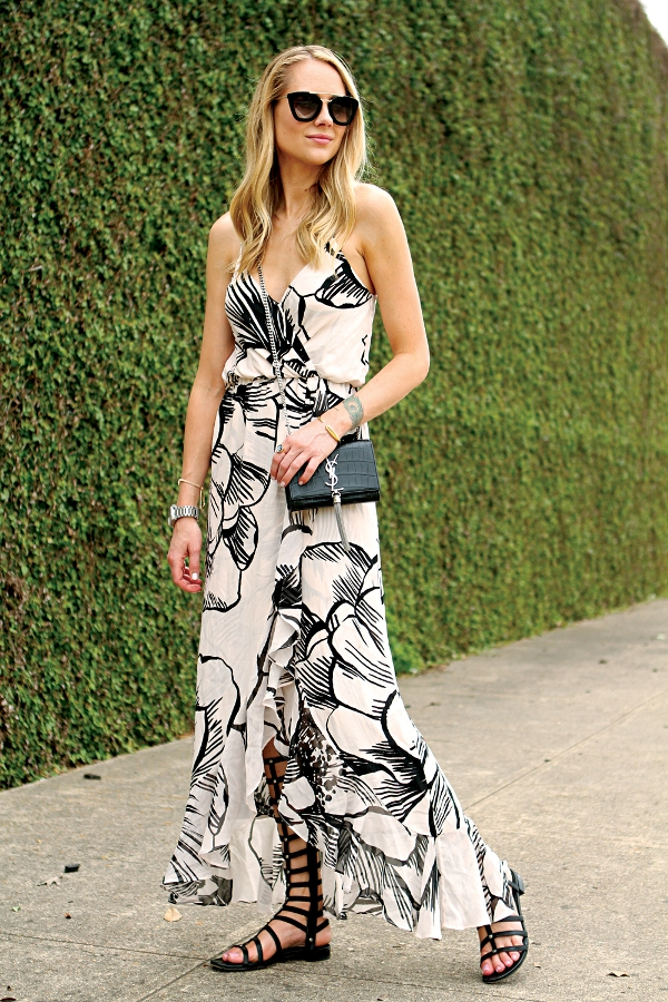 how to wear floral maxi dress with gladiator sandals