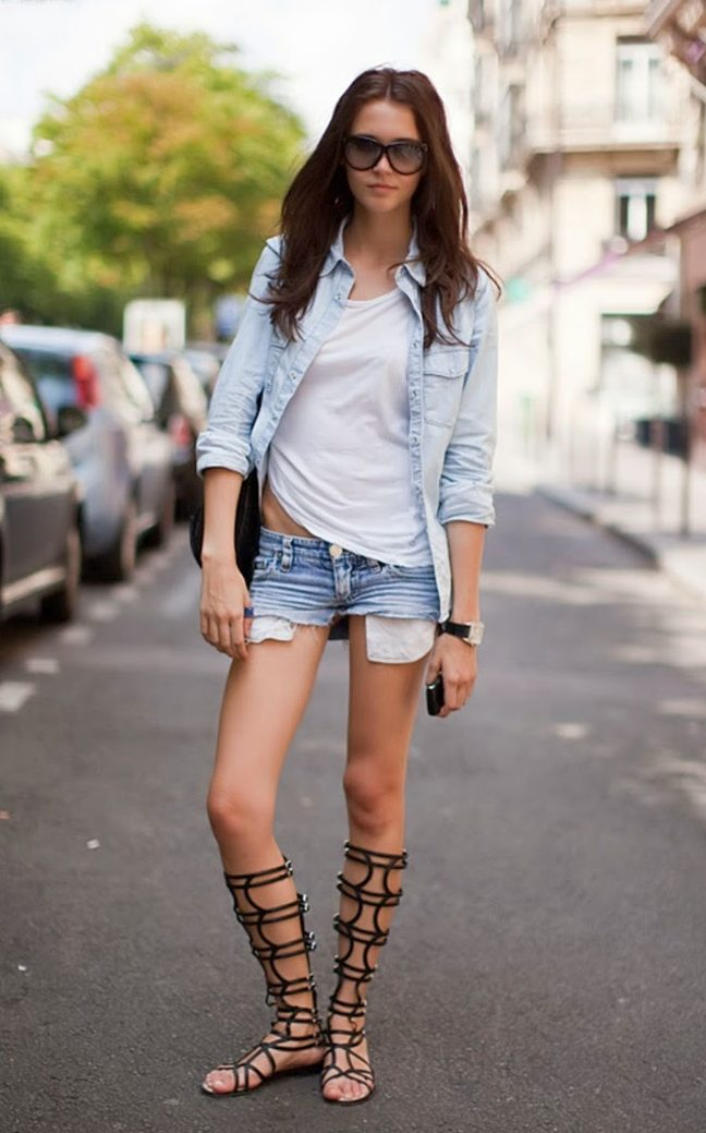 How To Wear Gladiator Sandals with shorts and t-shirt