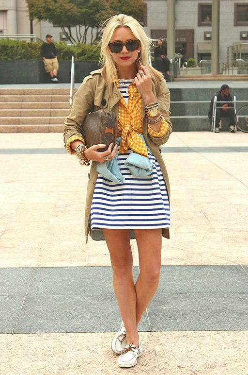 outfits with boat shoes and a dress
