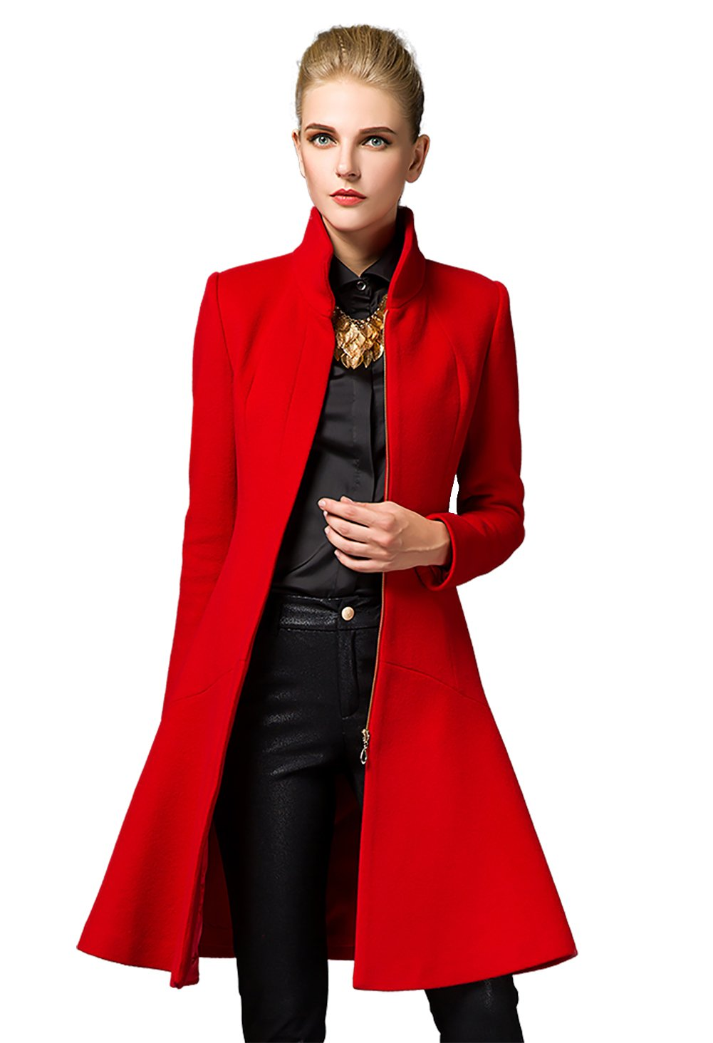 Shmily Girl Shmily Girl Women's Winter Slim Collar Mid-length Woolen Coat
