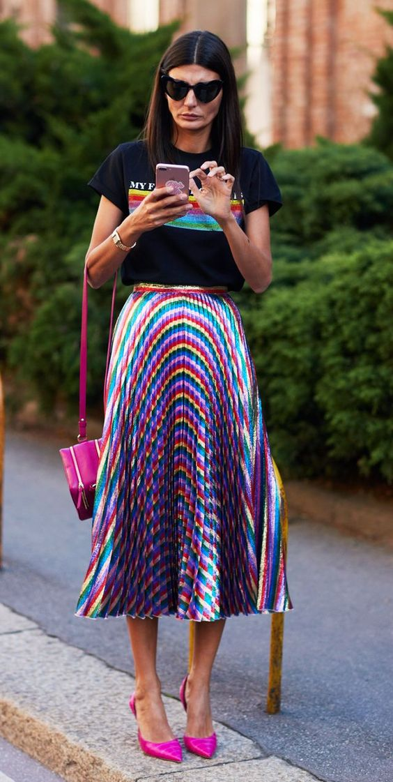 skirt trend colorful plaids