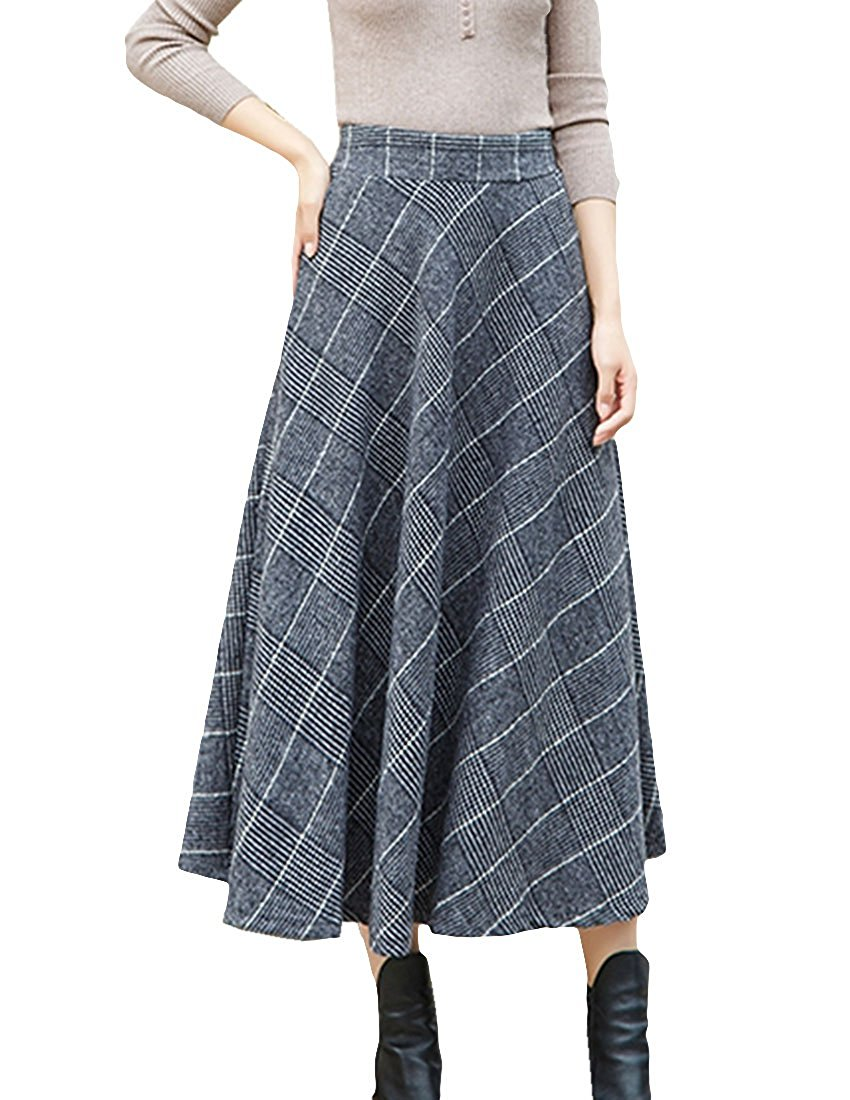 MFrannie Women Houndstooth Swing Woolen Maxi Long Skirt With Pockets
