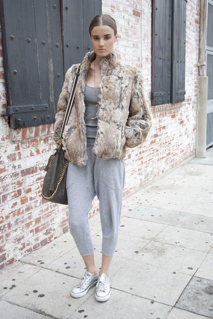 sweatpants with faux fur jacket