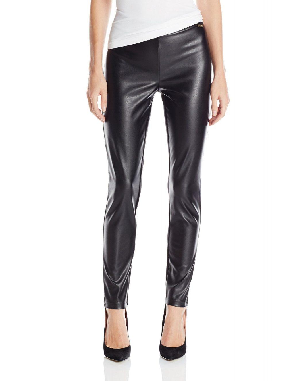 Calvin Klein Womens Pleather Front Leggings