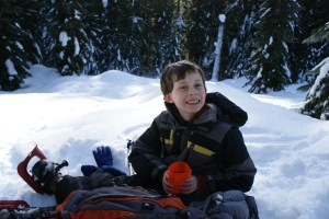 kids in winter, snowshoeing with children, smithbrook road