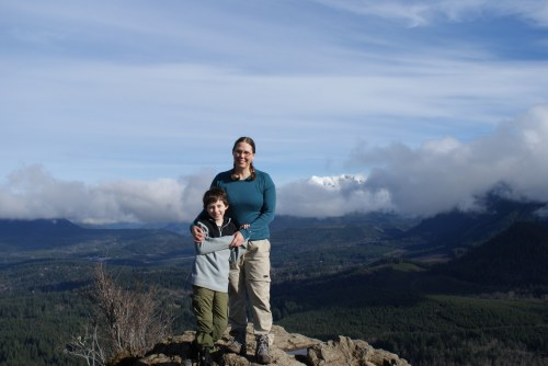hiking with children, kids in nature, view from the top
