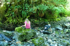 hiking with children, old sauk river trail, kids in stream
