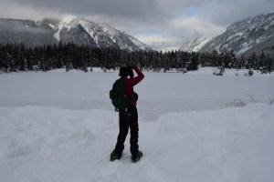 winter, kids in nature, snowshoeing, gold creek pond