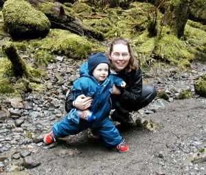 boulder river waterfalls, hiking with kids, winter, fall, spring, moss, rainy hike