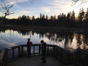 kids in nature, hazel wolf wetlands, water, sky, king county