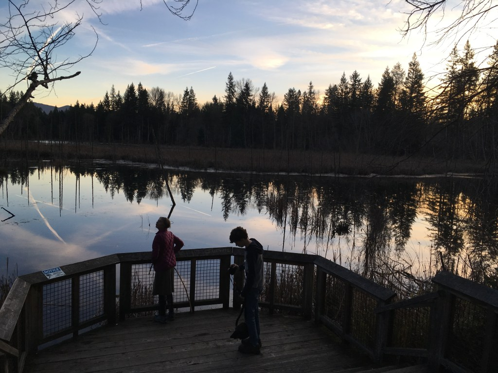 kids in nature, hazel wolf wetlands, water, sky, king county