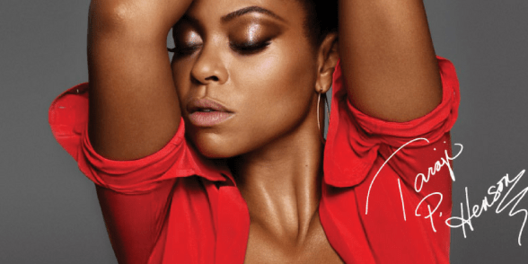 photo of taraji wearing Strip Me Nude lipstick with her eyes closed