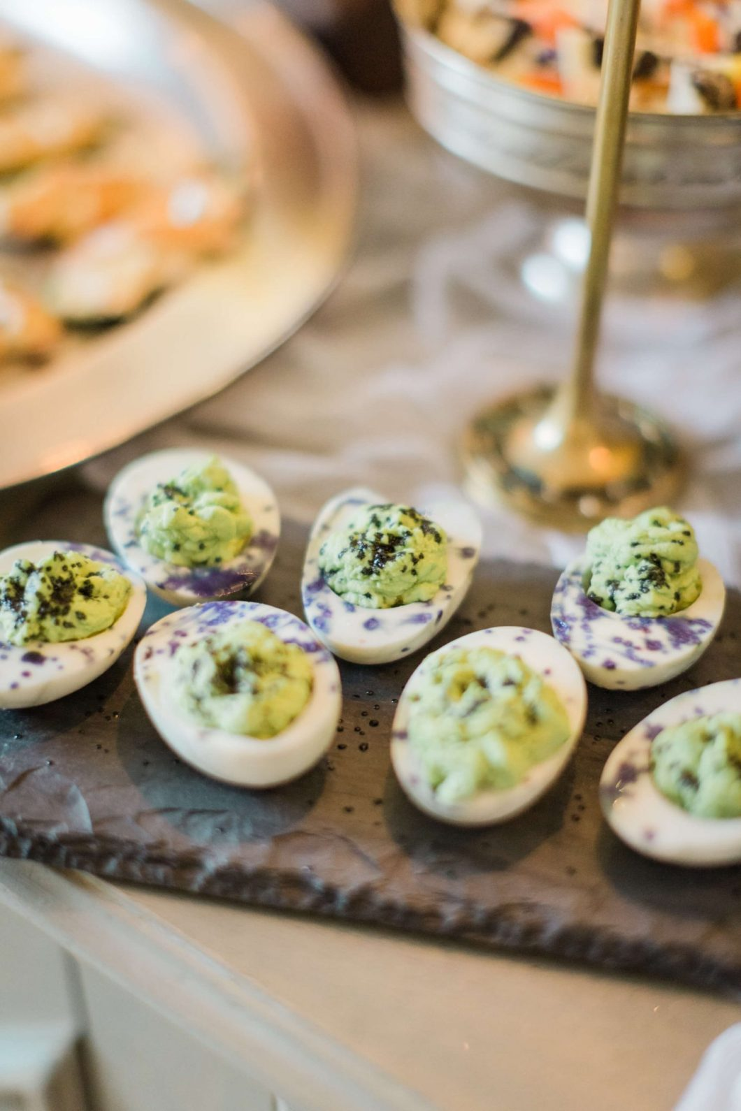 Spicy and Sweet Deviled Eggs // Halloween Party Recipe // www.thehisfor.com