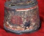 112-year-old Christmas plum pudding tin, back