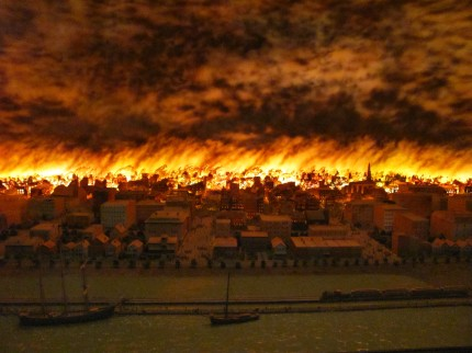 Chicago History Museum diorama of the Great Fire of 1871