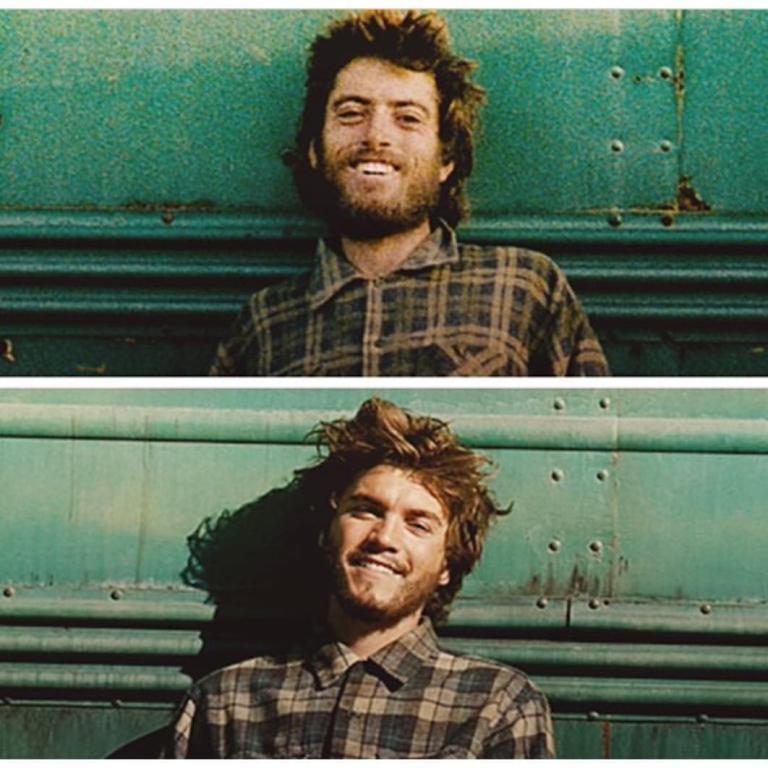 The real Christopher McCandless (aka Alexander Supertramp) and Emile Hirsch in Sean Penn's 'Into The wild' (2007). Soundtrack by Eddie Vedder