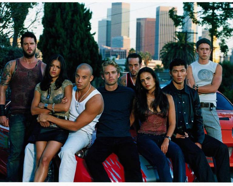 Original cast of 'The Fast and the Furious' (2001): Vin Diesel, Paul Walker, Michelle Rodriguez, Matt Schulze, Jordana Brewster, Chad Lindberg, Rick Yune & Johnny Strong