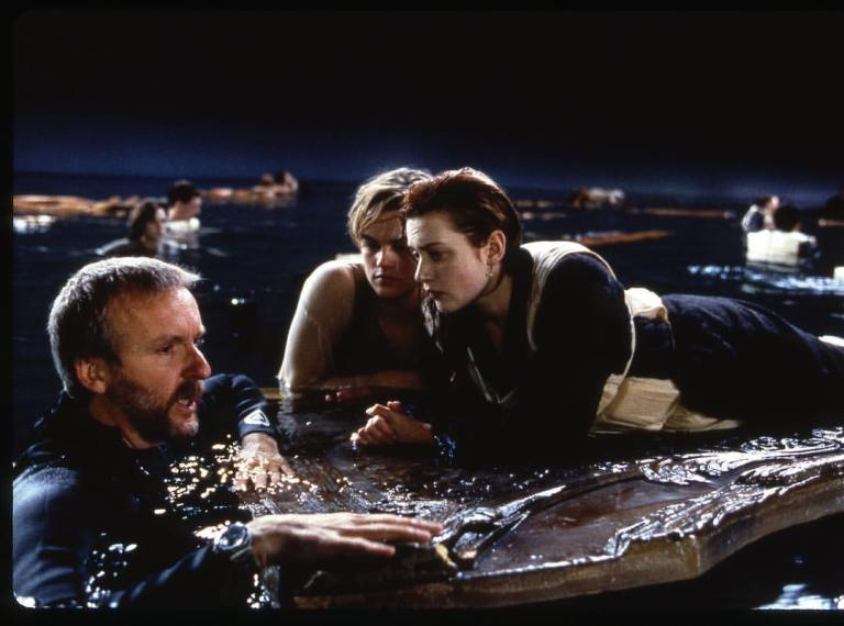 "Could Jack fit on that door?  James Cameron directing Leonardo DiCaprio and Kate Winslet in 'Titanic' (1997)James Cameron (already pissed off about this) answered: ""The script says Jack dies, he has to die. Maybe we screwed up. The board should have been a tiny bit smaller. But the dude's going down."""