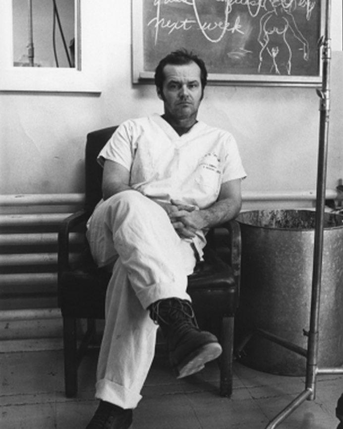 Jack Nicholson looking bored behind the scenes of