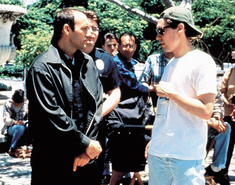 Bryan Singer directing Kevin Spacey behind the scenes of 'The Usual Suspects' (1995). Bryan was 30 years old when the movie was made