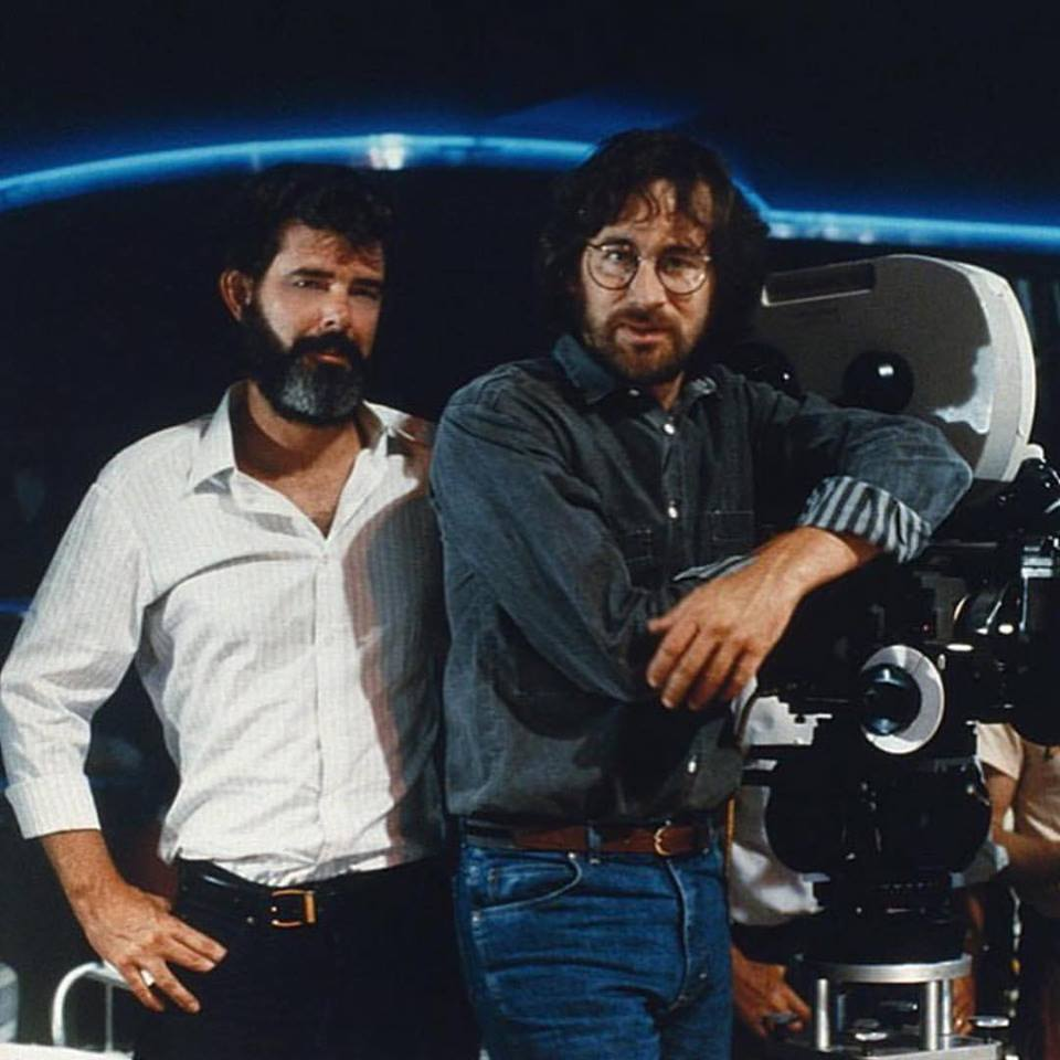 George Lucas and Steven Spielberg on the set of