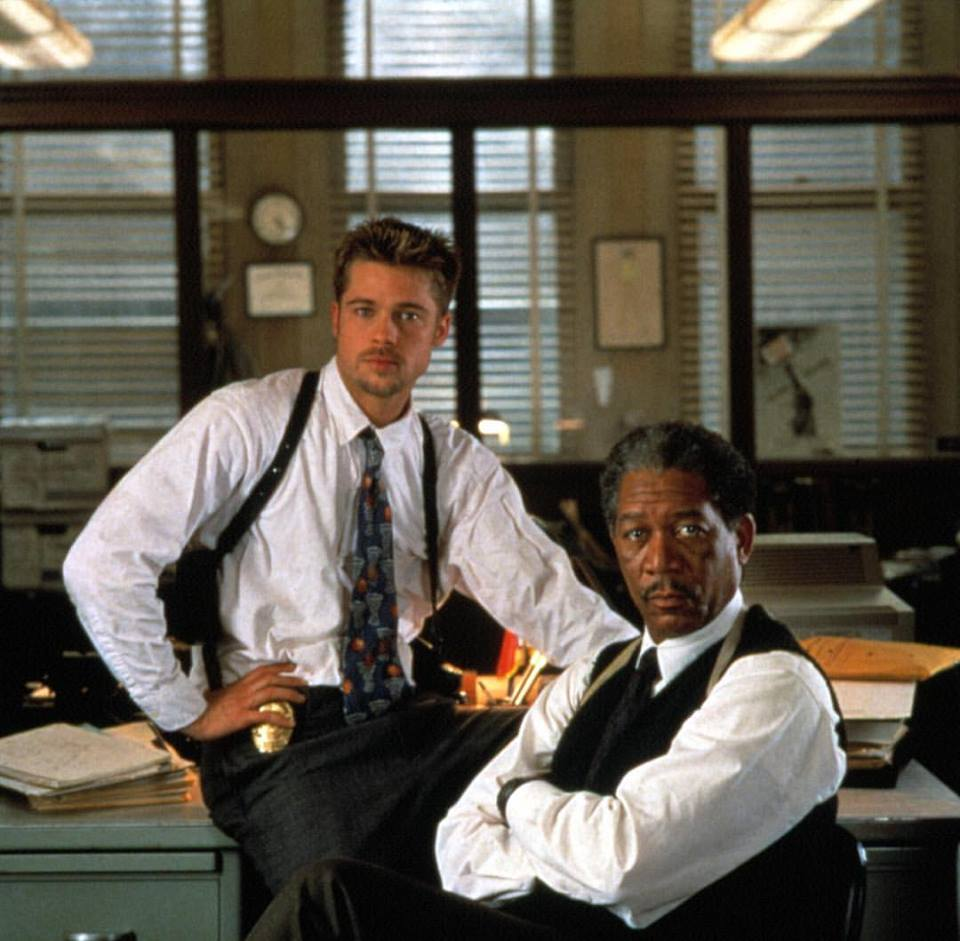 Brad Pitt and Morgan Freeman behind the scenes of