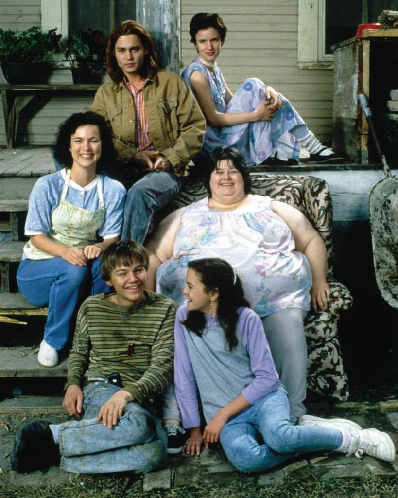 'What's Eating Gilbert Grape' (1993) cast on the set: Johnny Depp, Darlene Cates, Leonardo DiCaprio, Juliette Lewis, Laura Harrington & Mary Kate Schellhardt