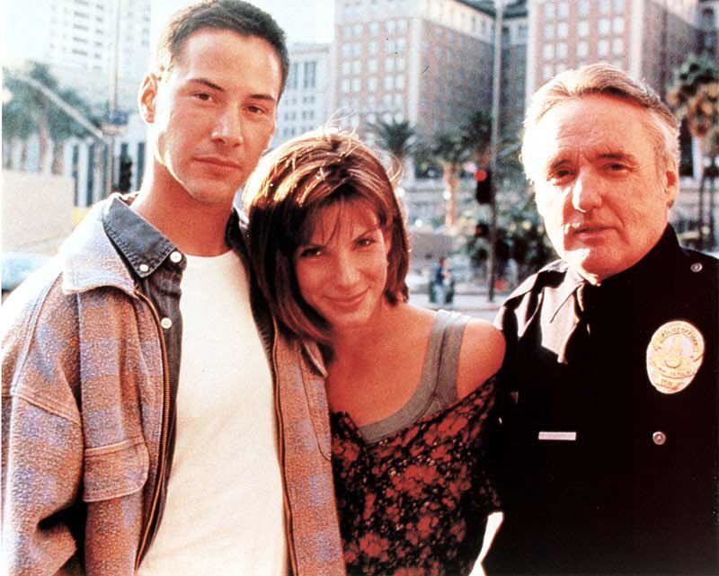 Keanu Reeves, Sandra Bullock and Dennis Hopper behind the scenes of 'Speed' (1994). Directed by Jan De Bont
