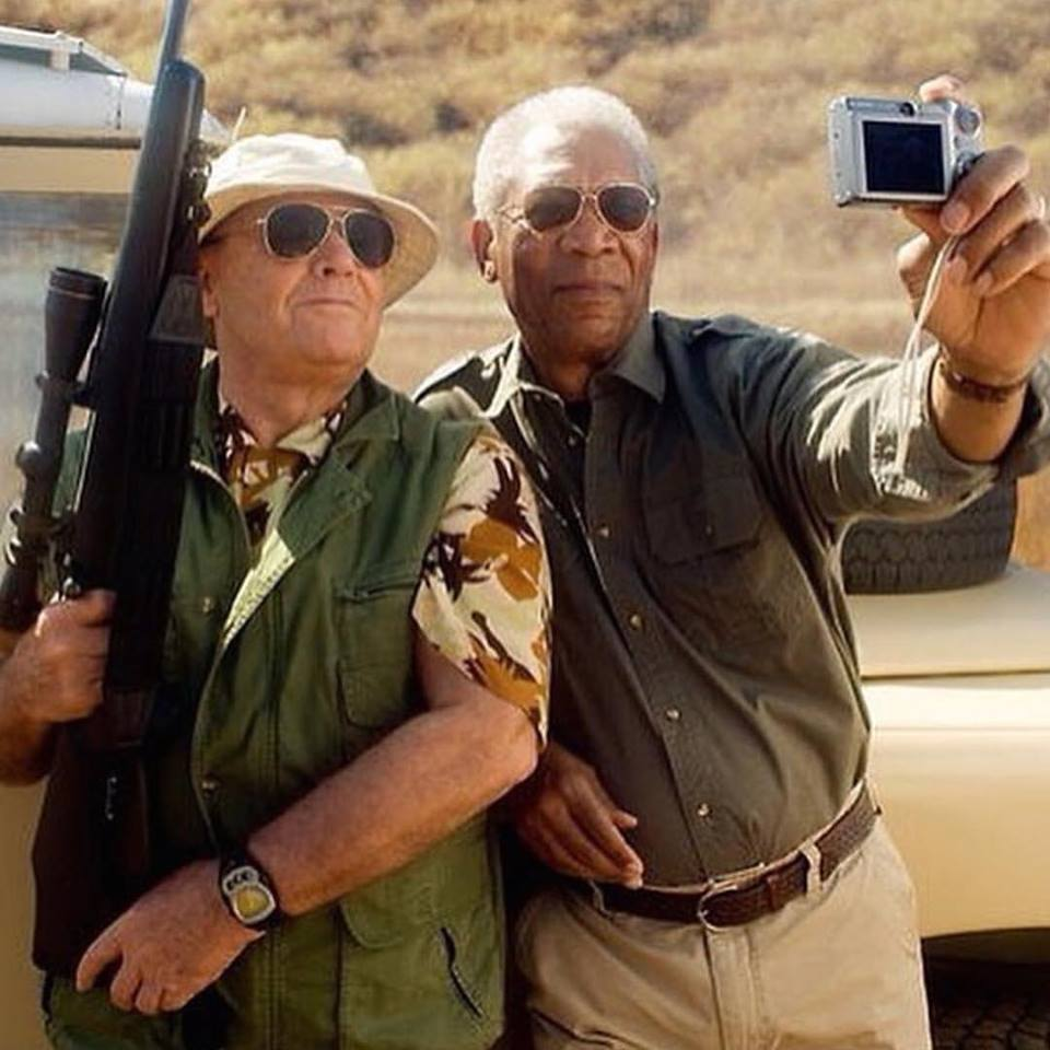 That's how you do a selfie. Jack Nicholson and Morgan Freeman on the set of 'The Bucket List' (2007)