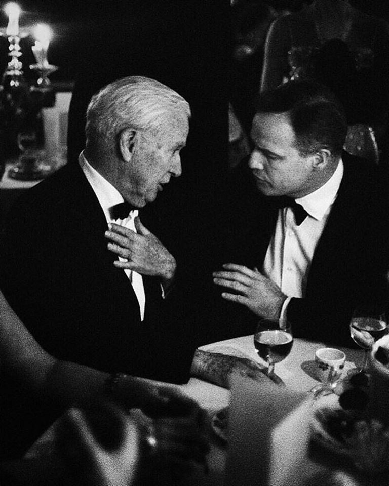 Charlie Chaplin and Marlon Brando, 1967