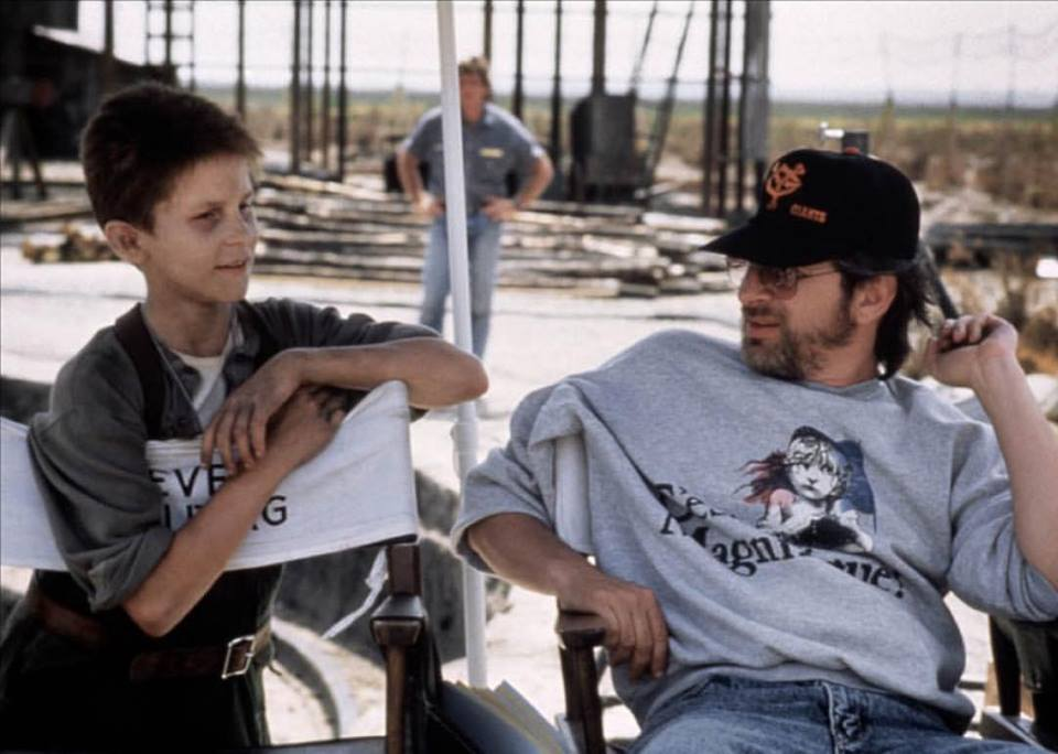 Christian Bale and Steven Spielberg on the set of