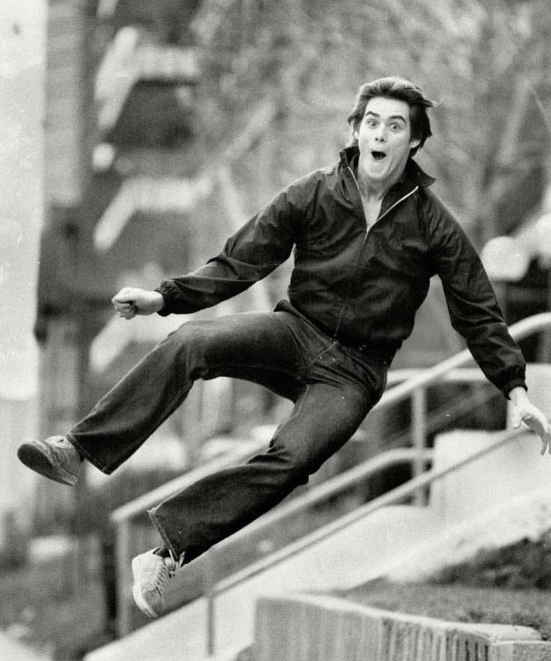 19-year-old Jim Carrey jumping for joy, 1981