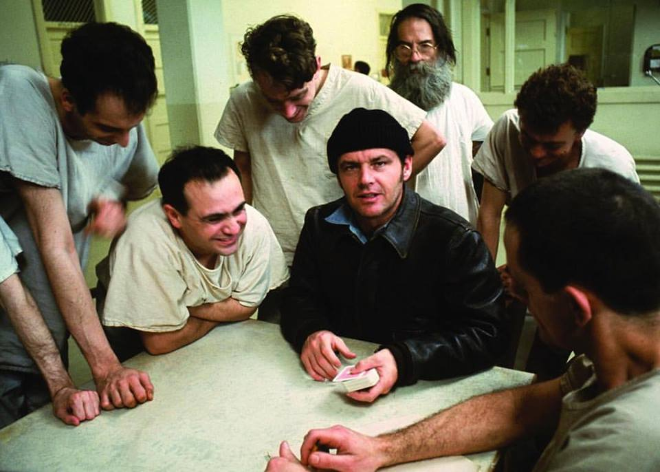 Jack Nicholson, Danny DeVito, Brad Dourif, Christopher Lloyd, Vincent Schiavelli and Delov V Smith Jr in 'One Flew Over the Cuckoo`s Nest' (1975)