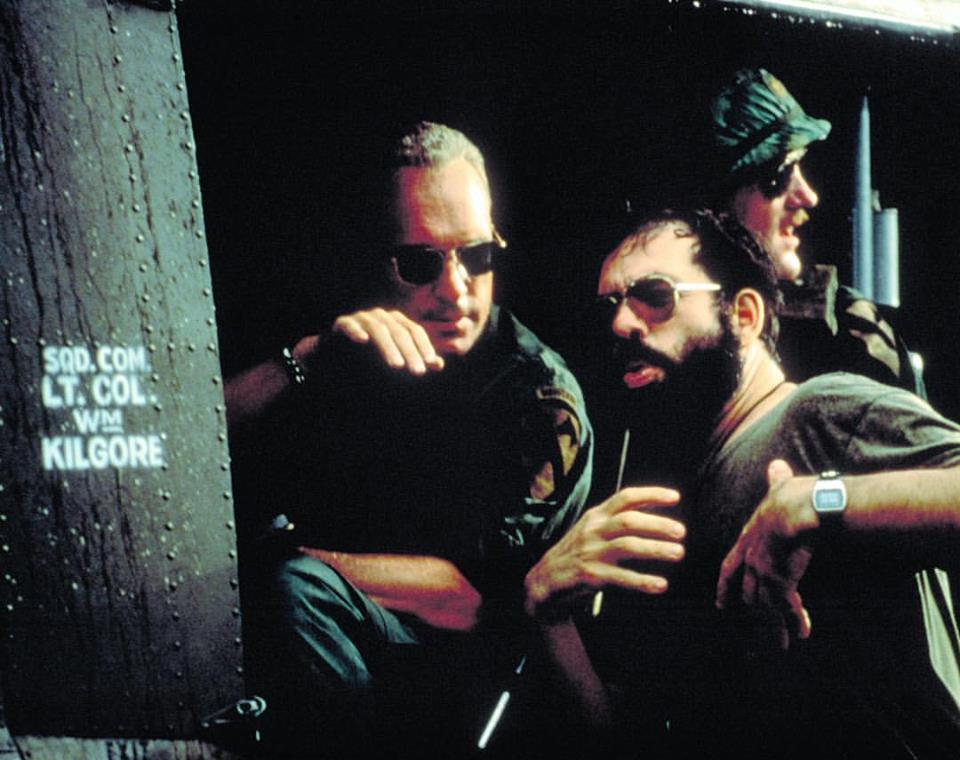 Robert Duvall and director Francis Ford Coppola behind the scenes of 'Apocalypse Now' (1979)