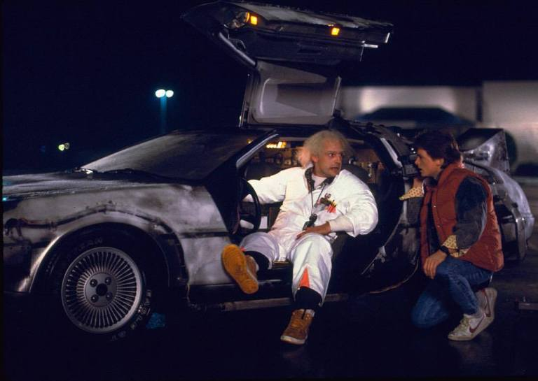 Christopher Lloyd and Michael J. Fox on the set of 'Back to the Future' (1985)