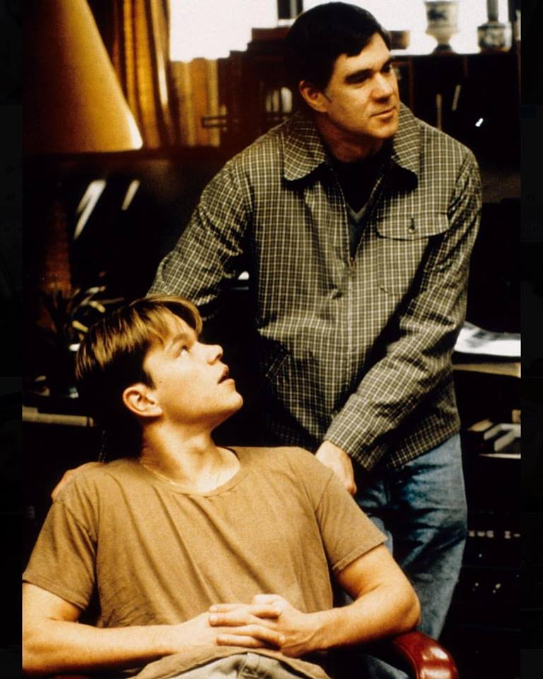 Matt Damon and director Gus Van Sant behind the scenes of 'Good Will Hunting' (1997)