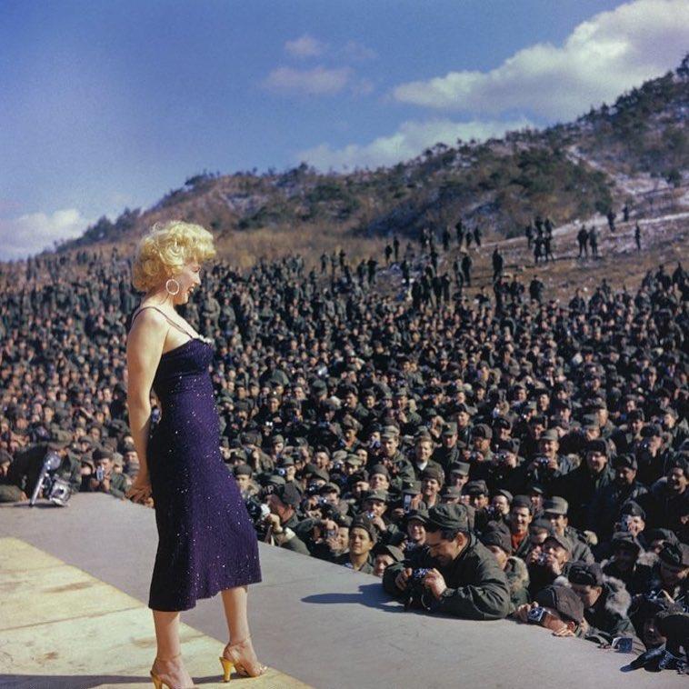 Marilyn Monroe performs for American troops in Korea, 1954