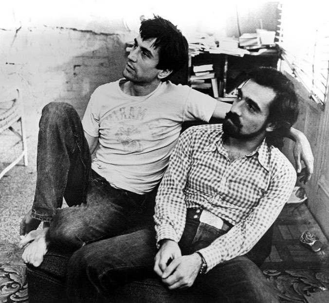 Martin Scorsese and Robert De Niro on the set of 'Taxi Driver' (1976)