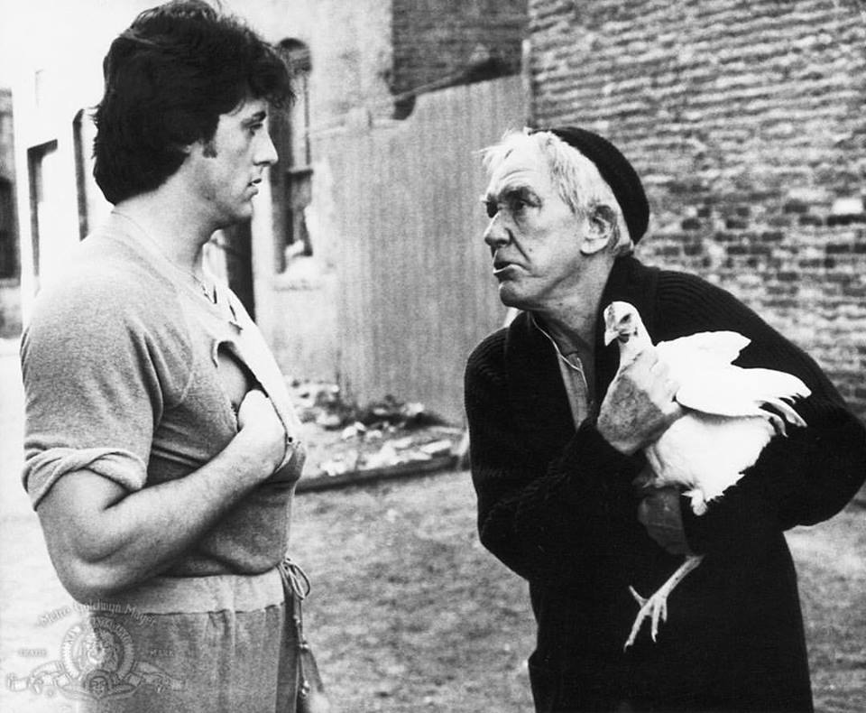 Burgess Meredith as Mickey act with Sylvester Stallone in