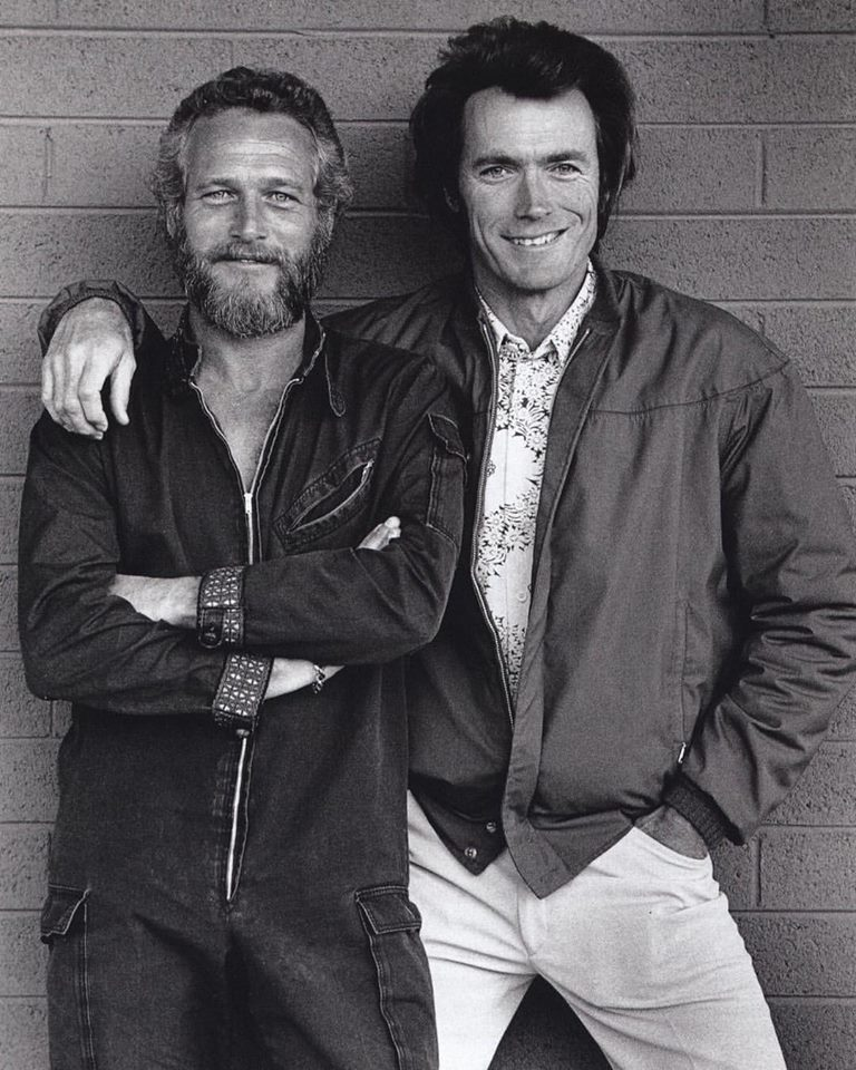 Paul Newman and Clint Eastwood, 1972. Old School cool, real legends