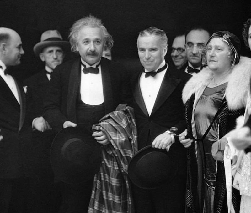 On February 2, 1931, film star Charlie Chaplin (center-right) attends the premiere of his newest film City Lights in Los Angeles, accompanied by his guests of honor: physicist Albert Einstein, and his wife, Elsa Einstein