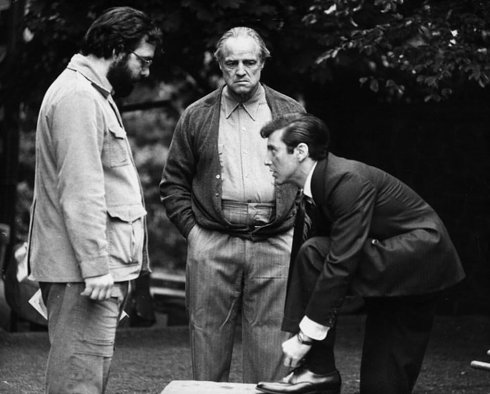 Francis Ford Coppola, Marlon Brando and Al Pacino rehearsing for 'The Godfather' (1972)